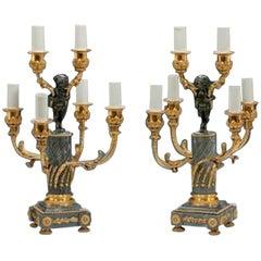 Pair of Napoleon III Six-Light Candelabra