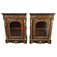 Pair of Napoleon III Style Boulle Ebonized Side Cabinets, circa 1870