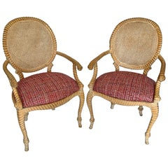 Pair of Napoleon III Style Classic Rope Chairs with Caned Backs from 1960s