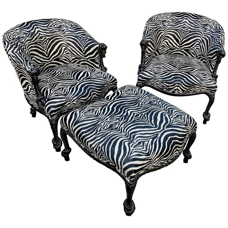 Pair Weiman Napoleon III Twisted Rope Armchairs with matching Ottoman in Zebra For Sale