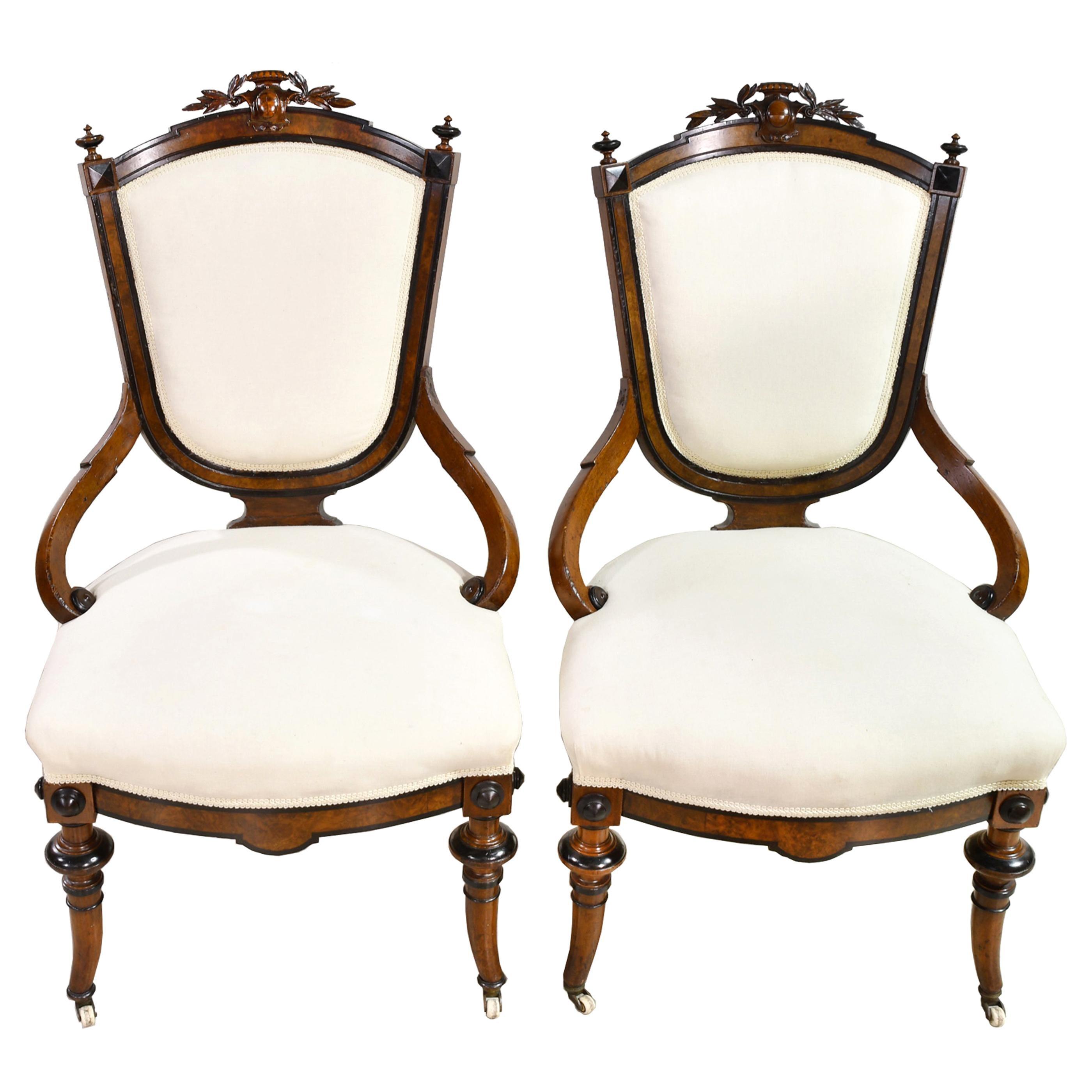 Pair of Napoleon III Upholstered Armchairs in Ebonized & Burl Walnut, circa 1870