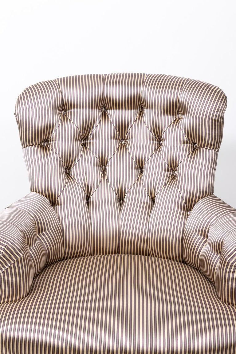 French Pair of Napoleon III Upholstered Chairs For Sale