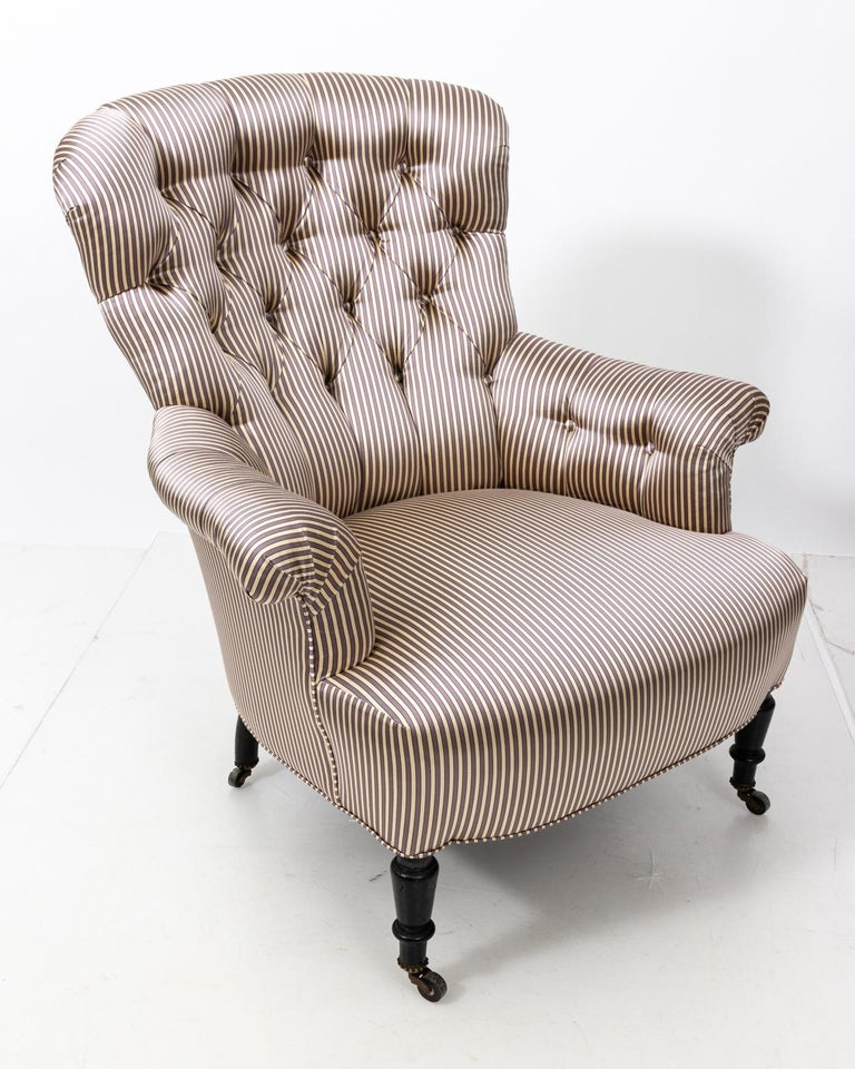 Pair of Napoleon III Upholstered Chairs For Sale 3