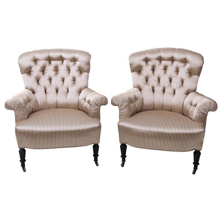 Pair of Napoleon III Upholstered Chairs For Sale