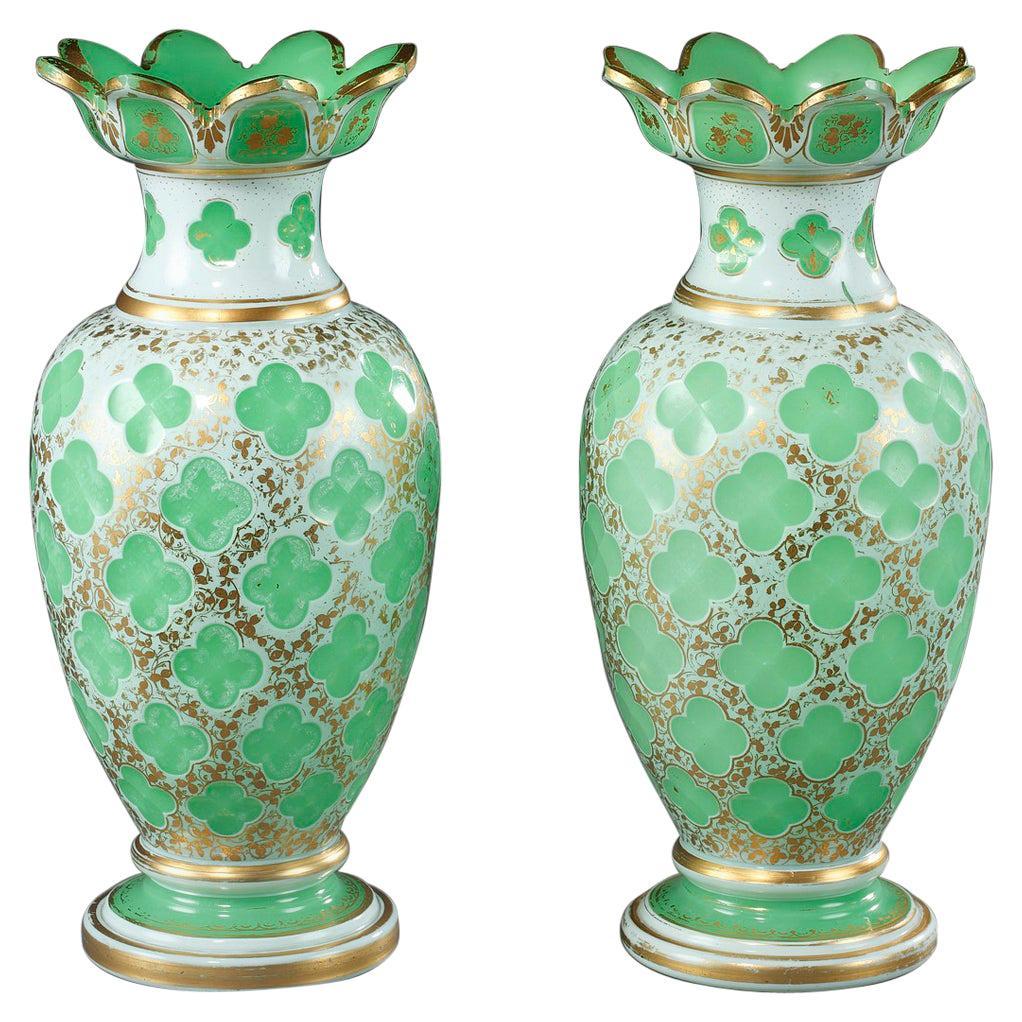Pair of Napoleon III Vases in Opaline Overlay