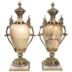 Pair of Napoleon Third Lidded Onyx Urns