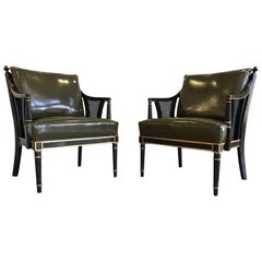 Pair of Napoleonic Revival Leather and Lacquered Wood Armchairs