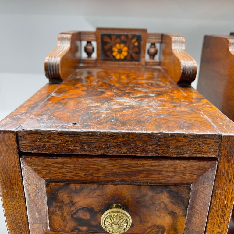 Pair of Narrow European 4 Drawer Nightstand or End Tables, Circa 1900 4