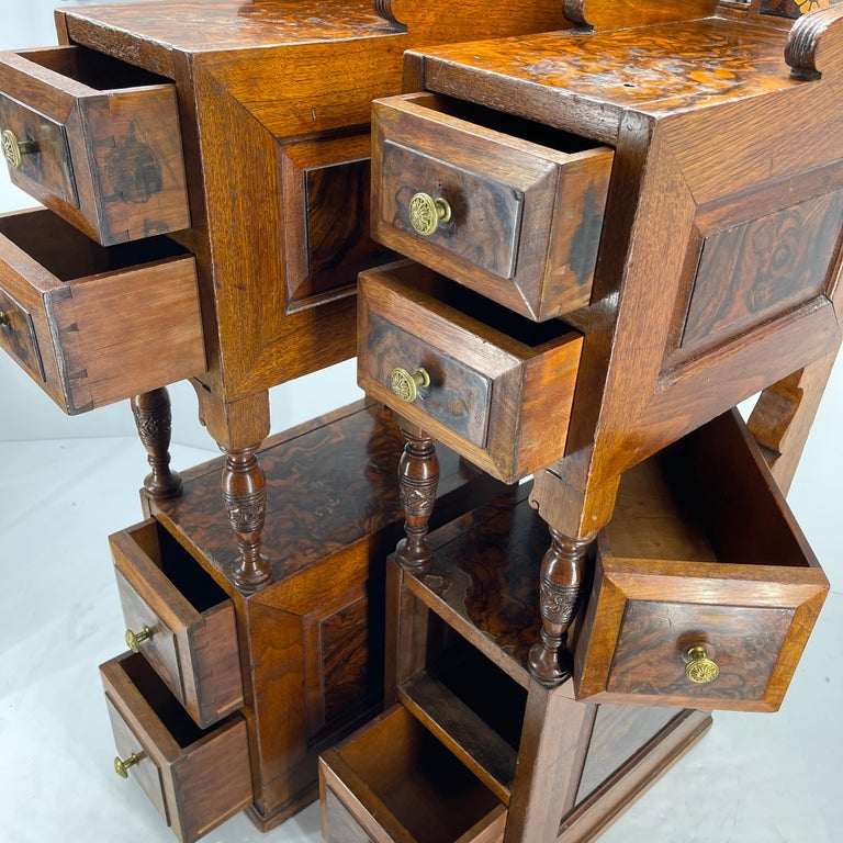 Pair of Narrow European 4 Drawer Nightstand or End Tables, Circa 1900 10