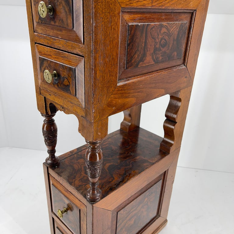 Pair of Narrow European 4 Drawer Nightstand or End Tables, Circa 1900 11