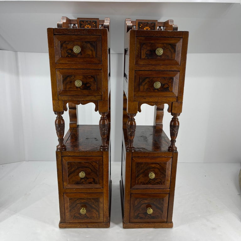 Belle Époque Pair of Narrow European 4 Drawer Nightstand or End Tables, Circa 1900