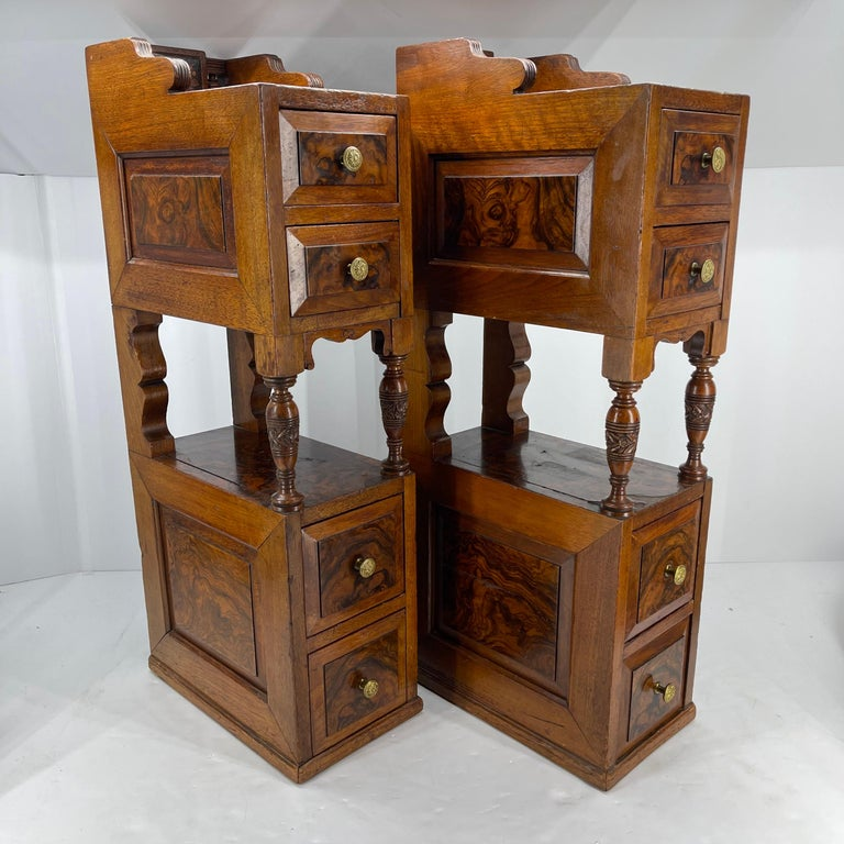 Hand-Crafted Pair of Narrow European 4 Drawer Nightstand or End Tables, Circa 1900