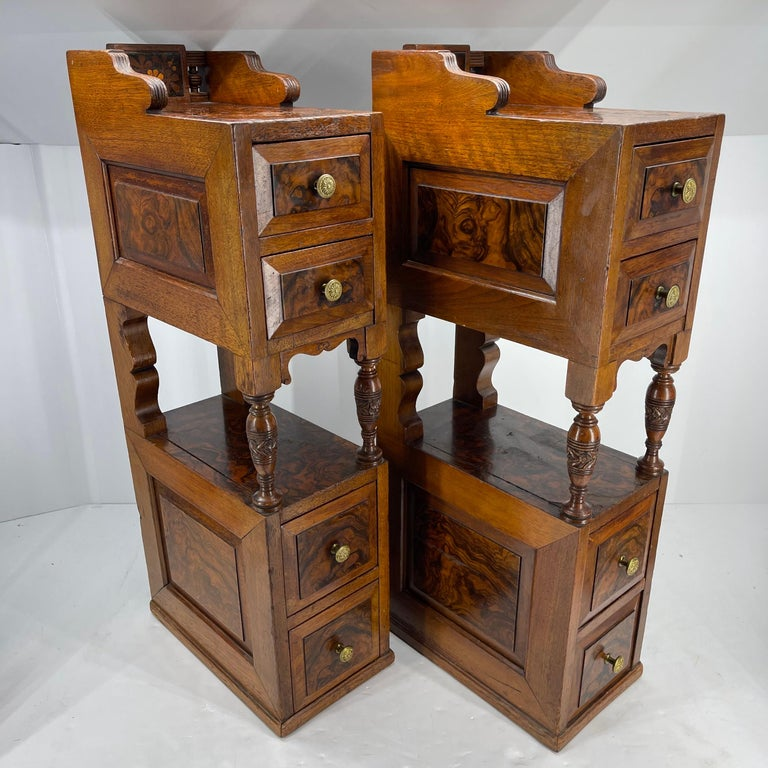 Pair of Narrow European 4 Drawer Nightstand or End Tables, Circa 1900 In Good Condition In Haddonfield, NJ