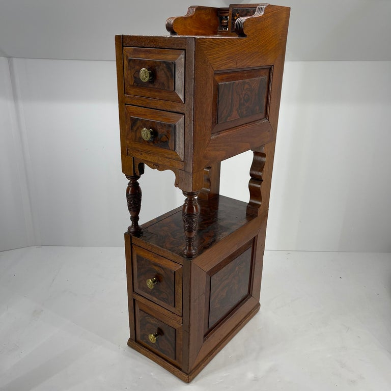 20th Century Pair of Narrow European 4 Drawer Nightstand or End Tables, Circa 1900