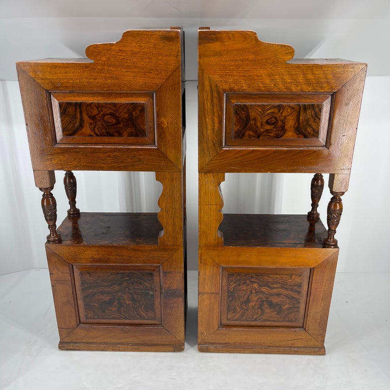 Pair of Narrow European 4 Drawer Nightstand or End Tables, Circa 1900 1
