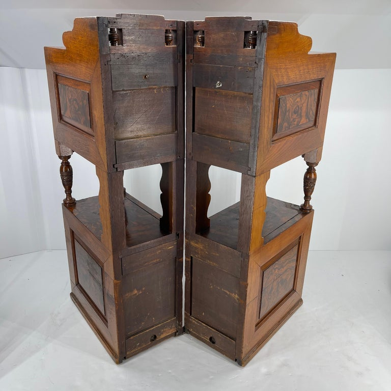 Pair of Narrow European 4 Drawer Nightstand or End Tables, Circa 1900 2