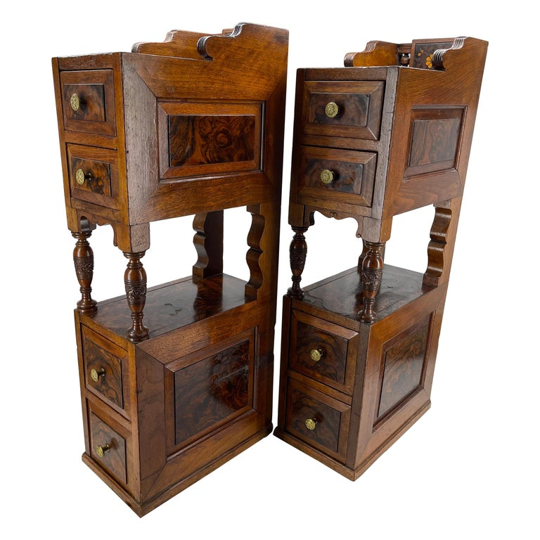 Pair of Narrow European 4 Drawer Nightstand or End Tables, Circa 1900