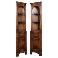 Pair of Narrow Oak Floor Standing Corner Cupboards