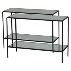 Pair of Narrow 'Rectiligne' Mirrored Wrought Iron End Tables by Design Frères