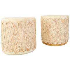 Pair of Native American Style Rawhide Drum Drink Tables
