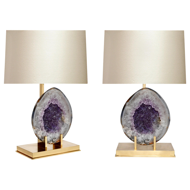 Pair of Natural Amethyst Lamps