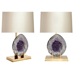 Pair of Natural Amethyst Lamps
