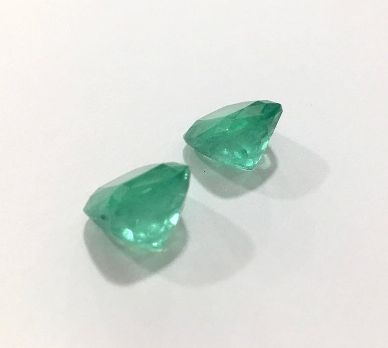 Cushion Cut Natural Cushion Colombian Emeralds 11.63 Carats Pair or Individual  For Sale