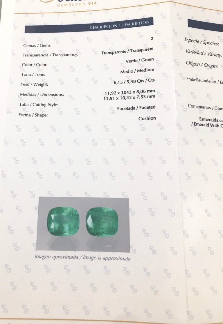 Women's or Men's Natural Cushion Colombian Emeralds 11.63 Carats Pair or Individual  For Sale