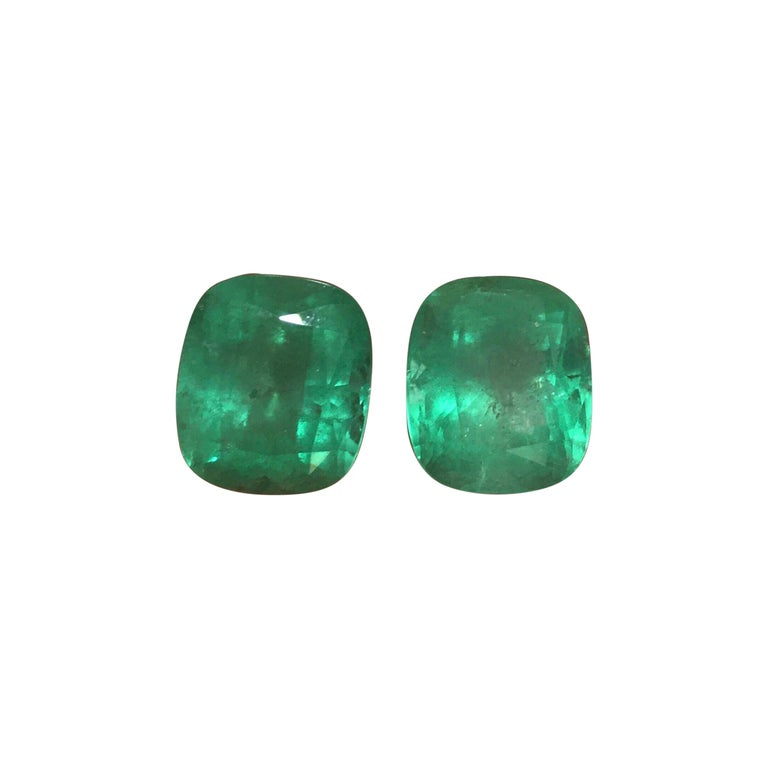 Natural Cushion Colombian Emeralds 11.63 Carats Pair or Individual  For Sale