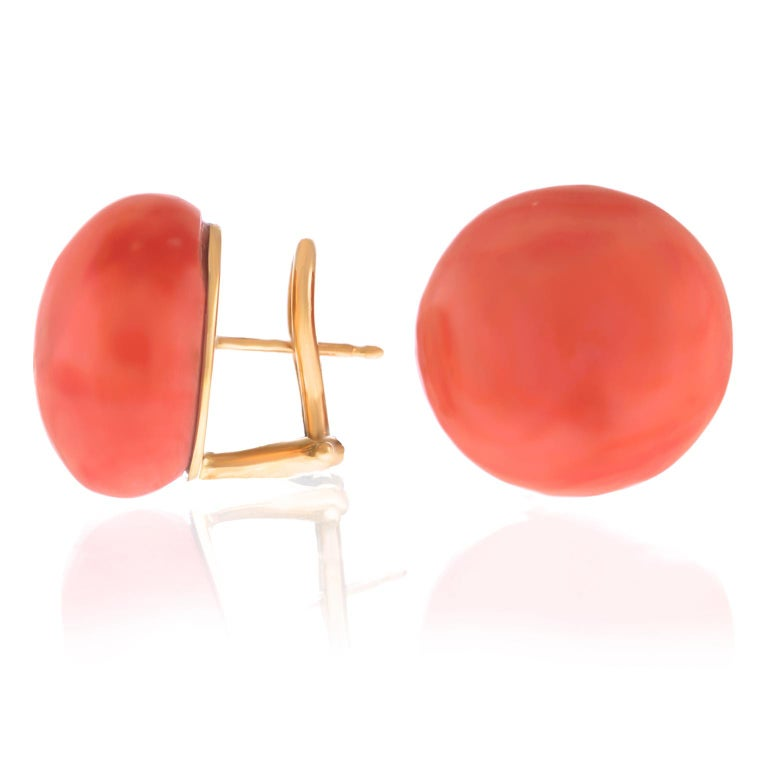 Pair of Natural Coral Earrings GIA In Excellent Condition For Sale In Litchfield, CT