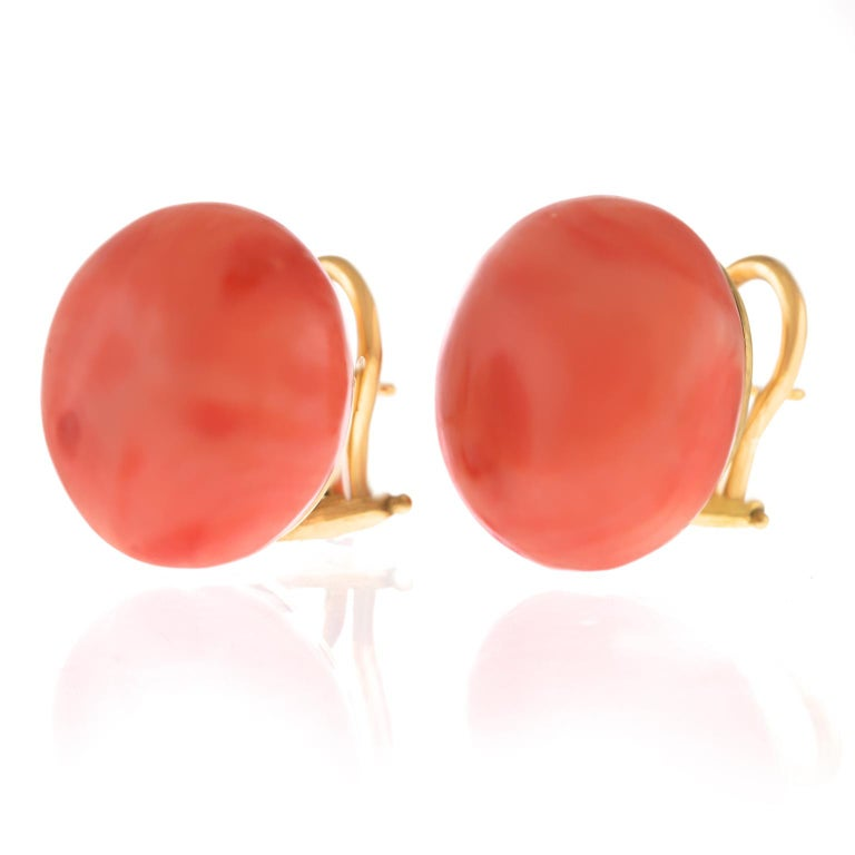 Pair of Natural Coral Earrings GIA For Sale 3
