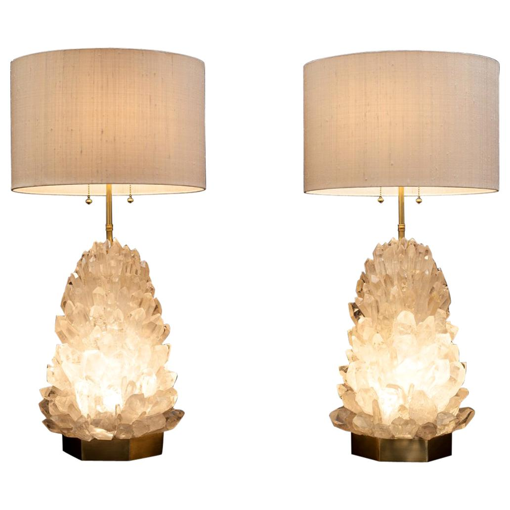 Pair of Natural Crystal Table Lamps, Signed by Demian Quincke