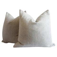 Pair of Natural Custom Made Wool and Linen Pillows