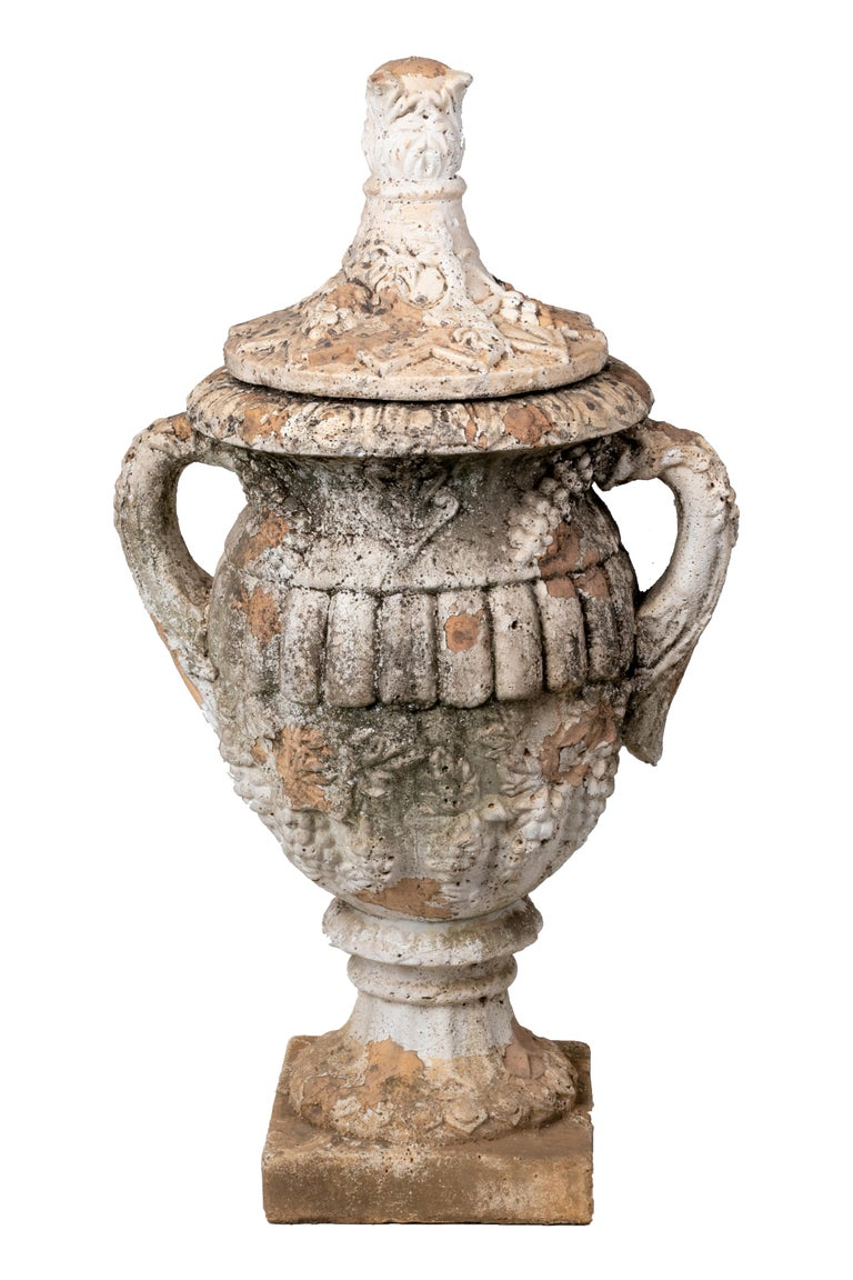 Pair of Natural French Terracotta Urns with Lids For Sale 1