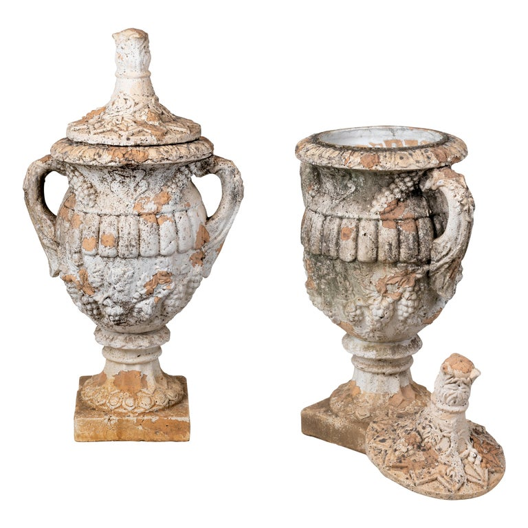 Pair of Natural French Terracotta Urns with Lids For Sale