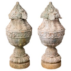 Pair of Natural French Terracotta Urns with Lids