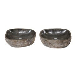 Pair of Natural Handcrafted River Rock Sinks