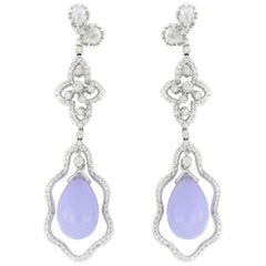 Pair of Natural Lavender Jadeite and Diamond Earrings in 18 Karat White Gold