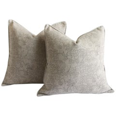 Pair of Natural Linen Floral Accent Pillow Covers