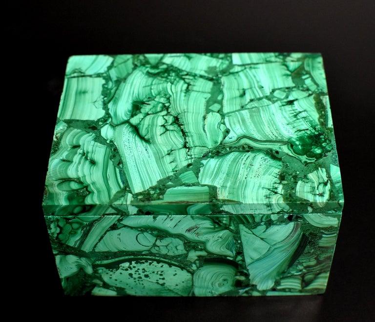Pair of Natural Malachite Boxes, Full Slab Gemstone Box For Sale 4