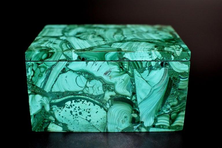 Pair of Natural Malachite Boxes, Full Slab Gemstone Box For Sale 5