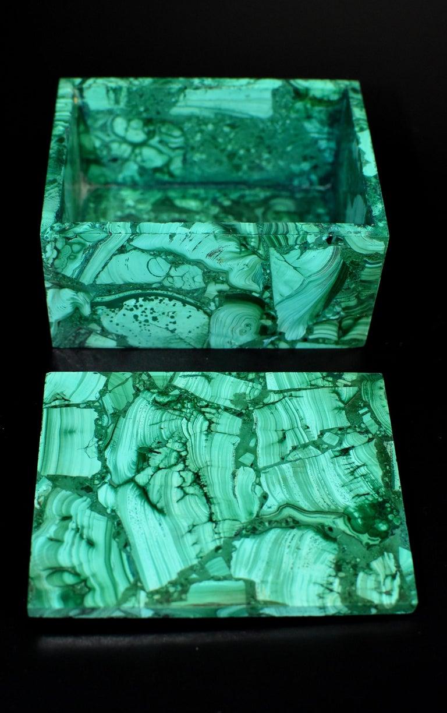 Pair of Natural Malachite Boxes, Full Slab Gemstone Box For Sale 6