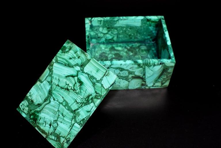 Pair of Natural Malachite Boxes, Full Slab Gemstone Box For Sale 7