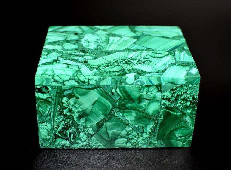 Pair of Natural Malachite Boxes, Full Slab Gemstone Box For Sale 8