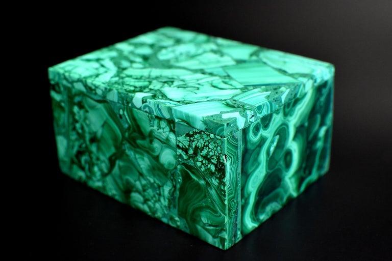 Pair of Natural Malachite Boxes, Full Slab Gemstone Box For Sale 9