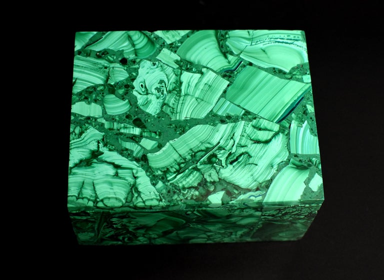 Pair of Natural Malachite Boxes, Full Slab Gemstone Box For Sale 10