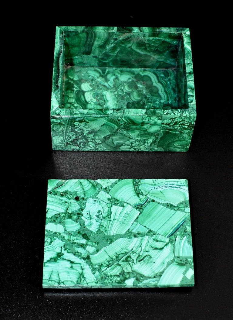 Pair of Natural Malachite Boxes, Full Slab Gemstone Box For Sale 12