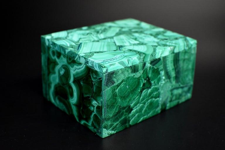 Pair of Natural Malachite Boxes, Full Slab Gemstone Box For Sale 14