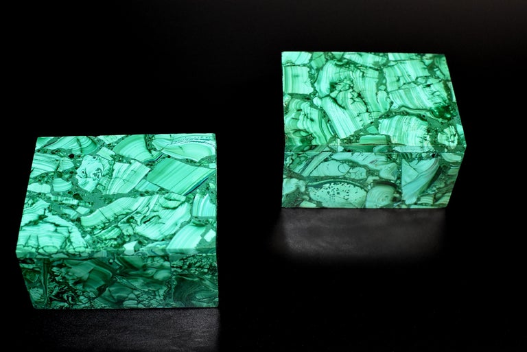 Malagasy Pair of Natural Malachite Boxes, Full Slab Gemstone Box For Sale