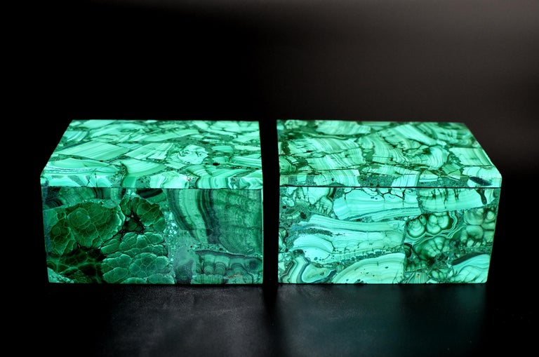 Hand-Crafted Pair of Natural Malachite Boxes, Full Slab Gemstone Box For Sale